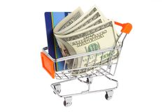 Money, credit card in shopping cart isolated Stock Photography