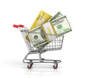 Money and credit card. In the shopping cart on white background. Trolley. Credit concept Royalty Free Stock Photo