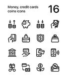Money, credit cards, coins icons for web and mobile design pack 3. 16 line black and white vector icons Royalty Free Stock Photos
