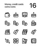 Money, credit cards, coins icons for web and mobile design pack 2. 16 line black and white vector icons Royalty Free Stock Photography