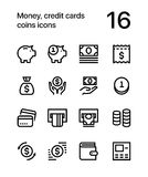 Money, credit cards, coins icons for web and mobile design pack 1. 16 line black and white vector icons Stock Photo