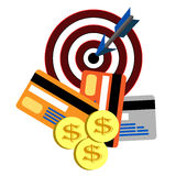 Money credit cards hit target Stock Images