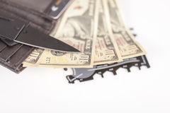 Money and credit cards in wallet Royalty Free Stock Image