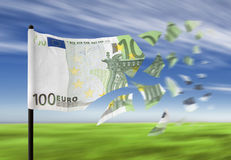 Money crisis. An euro banknote paper money falling into pieces in the wind stock illustration