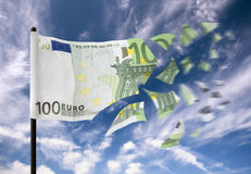 Money crisis. An euro banknote paper money falling into pieces in the wind vector illustration