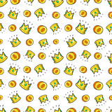Money and Crowns Seamless Pattern. Fashion Background in Retro Comic Style Stock Photography