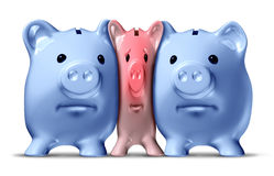 Money Crunch. And financial squeeze or credit crunch as a squashed and pressed pink piggy bank under pressure from bigger blue pigs as a financial icon of vector illustration