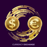 Money Currency Exchange Vector. Dollar, Euro. Golden Coins With Digital Stream. Conversion Commercial Operation For Royalty Free Stock Image
