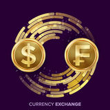 Money Currency Exchange Vector. Dollar, Franc. Golden Coins With Digital Stream. Conversion Commercial Operation For Royalty Free Stock Photos