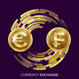 Money Currency Exchange Vector. Euro. Franc. Golden Coins With Digital Stream. Conversion Commercial Operation For Stock Photos