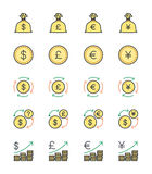 Money & Currency icons, color set - Vector Illustration Royalty Free Stock Photography