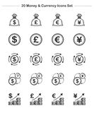 Money & Currency icons set, Line Thickness icons Stock Photo