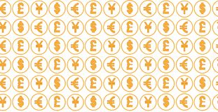Money currency pattern background. world currency of dollar, euro, pound and yen sings. The Money currency pattern background. world currency of dollar, euro Royalty Free Stock Photography