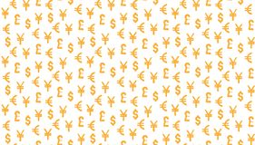 Money currency pattern background. world currency of dollar, euro, pound and yen sings. The Money currency pattern background. world currency of dollar, euro Royalty Free Stock Photos