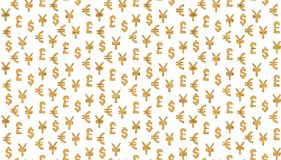 Money currency pattern background. world currency of dollar, euro, pound and yen sings. The Money currency pattern background. world currency of dollar, euro Stock Photography