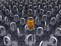 Money and currency security - locked padlock Royalty Free Stock Photos