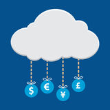 Money currency symbol hanging from cloud Stock Photo