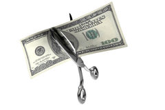 Money cut. 3d illustration of scissors cutting a 100 dollars banknote stock illustration