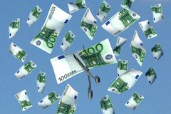 Money cut. 3d illustration of scissors cutting a 100 euros banknote vector illustration