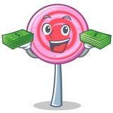 With money cute lollipop character cartoon. Vector illustration Stock Photo