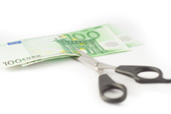 Money cutting financial savings budget Stock Photography