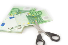 Money cutting financial savings budget Stock Image