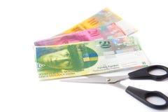 Money cutting saving swiss franc Royalty Free Stock Photo