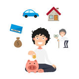 Money cycle.personal savings concept. Illustration of money cycle.personal savings concept vector Stock Image