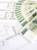 Money - Czech crowns and plans royalty free stock photography