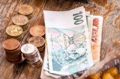 Money. Czech money on the desk Royalty Free Stock Photos