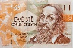 Money of Czech Republic macro. Money of Czech Republic with portrait of John Amos Comenius teacher, educator and writer Royalty Free Stock Image