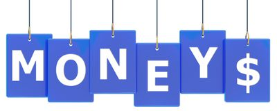 Money tag banner. Money 3d rendered blue tag banner , isolated on white background Stock Photos