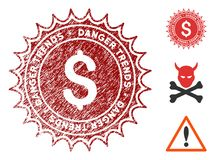 Money Danger Trends Seal with Grunge Effect. Money Danger Trends grunge round stamp with warning icon. Vector red seal with scratched style for rubber stamps royalty free illustration