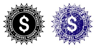 Money Danger Trends Stamp with Grungy Texture. Money Danger Trends round stamp in grunge blue and clean black styles. Rubber seal stamp with grunge design of stock illustration