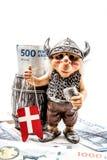 Money, Danish with Viking toy Royalty Free Stock Photography