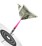 Money darts and target Stock Photos