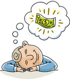 Money Daydream. A cartoon businessman naps and dreams about money Royalty Free Stock Photos
