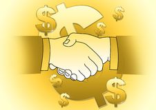 Money deal. Illustration of hand shaking businessmen stock illustration