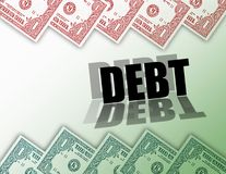 Money Debt. Computer generated design background. In debt or owe money concept. Are you in the Red or in the Green Stock Photo