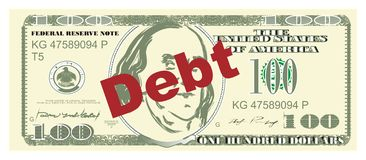 Money and debt. One hundred dollar and red word debt stock illustration