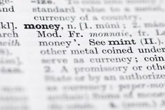 Money; Definition in English Dictionary. Stock Image