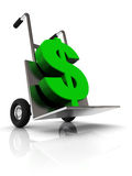 Money delivery. Abstract 3d illustration of delivery truck with dollar sign Royalty Free Stock Photography