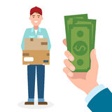 Money for delivery. Royalty Free Stock Photos