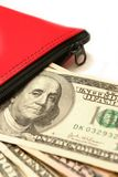 Money deposit on white. Bank cash deposit in a red money bag, on white Stock Photography