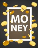 Money design elements. Frame with golden coins. Wealth concept. Vector illustration Royalty Free Stock Photo