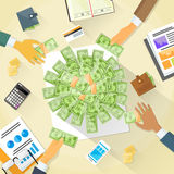 Money on Desk Hands Business People Group Crowd Royalty Free Stock Image