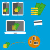 Money in devices Royalty Free Stock Photos