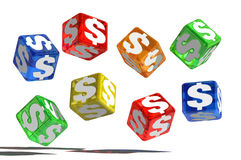 Money dice. 3D dice with money symbols Royalty Free Stock Photography
