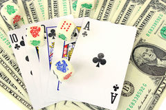 Money, dice and playing cards Stock Photo