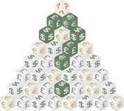 Money dice pyramid. Question mark consist of money dices Royalty Free Stock Photography